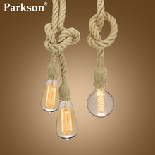 Vintage Hemp Rope Pendant Light Hanging Lamp E27 85-265V Lamparas De Techo Colgante Moderna Living Room Industrial Pendant Lamp led chandelier living room dining room lamp modern acrylic lamp lamparas de techo colgante moderna pendant lights abaju