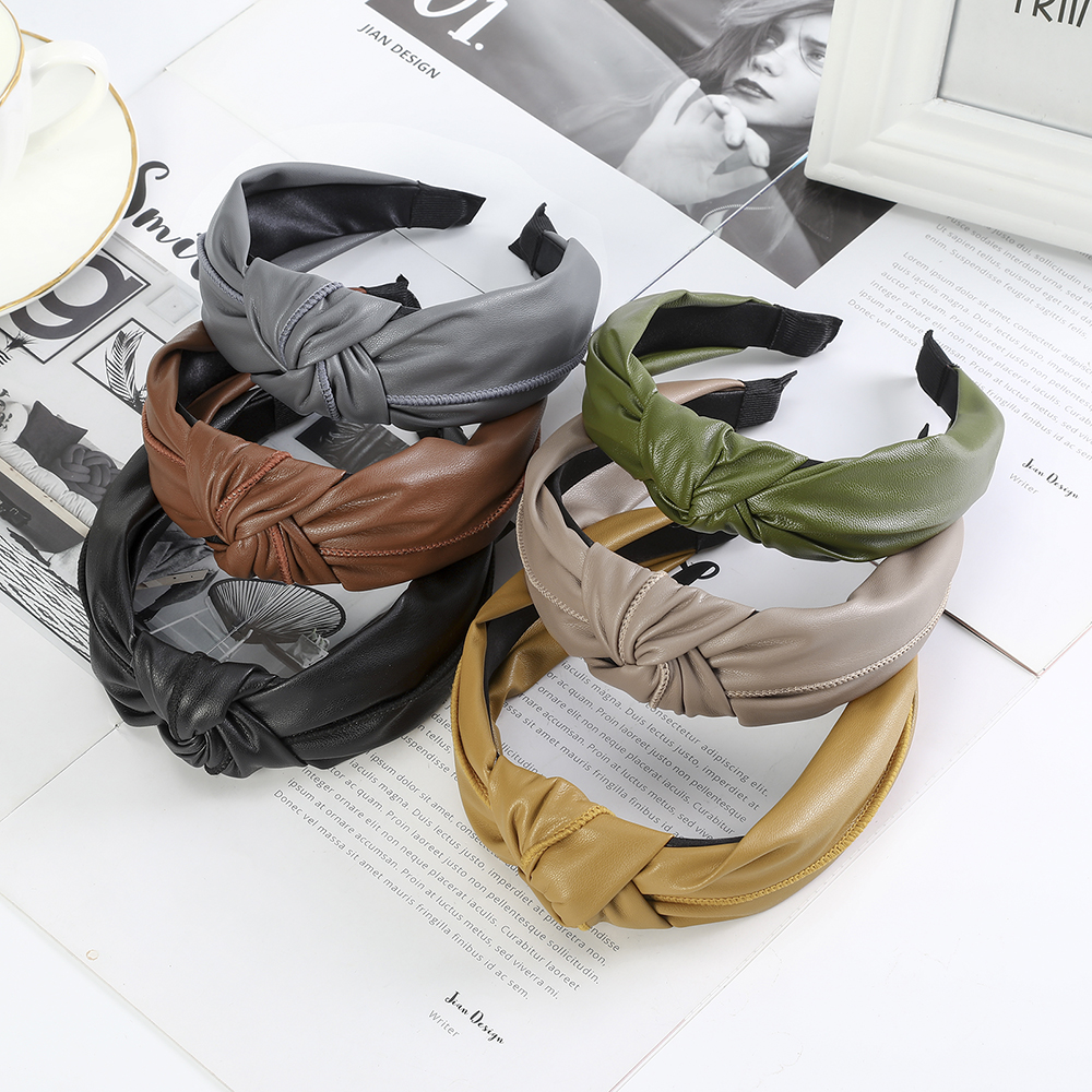 Simple Style Real Leather Hairband Solid Color Headband Knotted Hair Band Hair Accessories For Women Bezel Hair Hoop Headwear