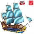 Hohe-tech Blau Boat Set DIY Bausteine Pirate Schiff Creator Stem Kit Ziegel Bau Spielzeug kinder Geburtstag geschenk