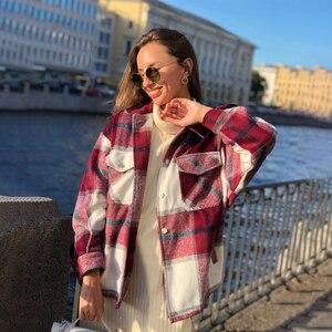 Image 2 - ฤดูหนาวของผู้หญิงเสื้อลายสก๊อตขนาดใหญ่กระเป๋าเสื้อOutwearเสื้อผ้าสำหรับสตรีRopa Mujerผู้หญิงเสื้อและเสื้อ
