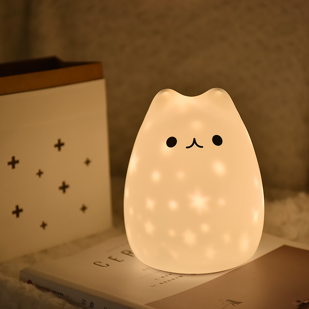 New LED Night Light Stars Projector Cat Bear USB Rechargeable Silicone Soft Cartoon Baby Child Nursery Lamp For Children Gift
