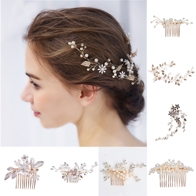 Pearls Bridal Hair Combs Pearls Women Jewelry Accessories Beauty Handmade Bride Headwear Rose Gold Head Comb Charms Headdress