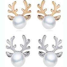 JXXGS Fashion Jewelry Stud Earrings For Women Pearl Deer Animal Earring New Arrival Xmas Christmas Female Gift 201