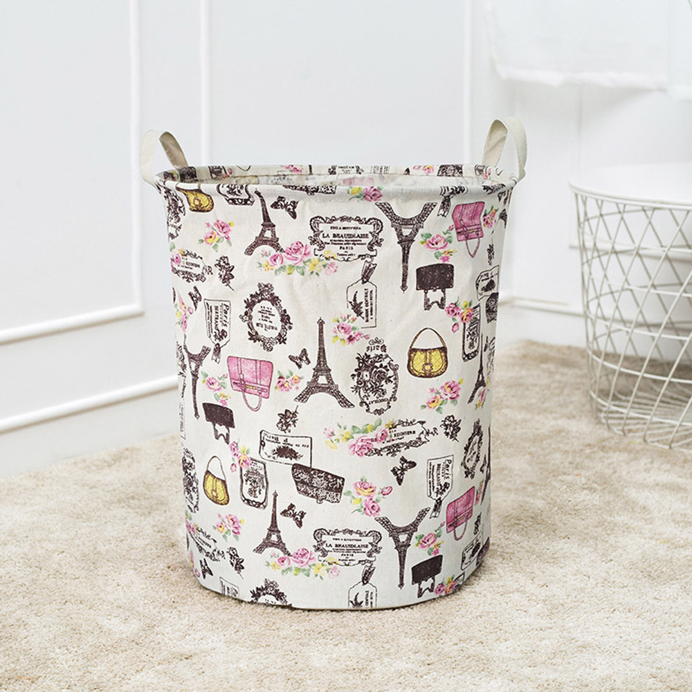 Toy Basket Bucket Storage-Bag Foldable Large-Capacity Circular title=