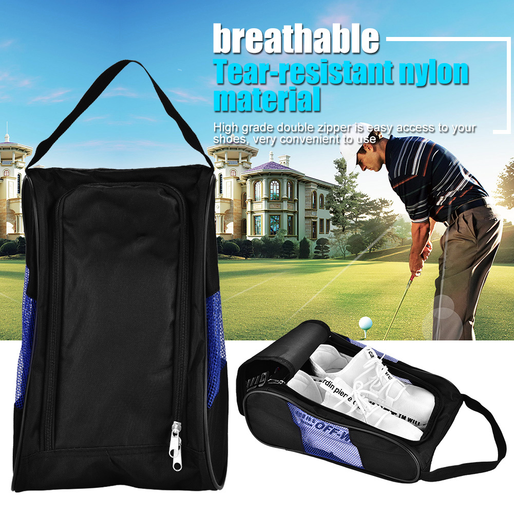 New Portable Breathable Golf Shoes Bag Zipped Sports Bag Shoe Case Golf Shoe Bag Zippered Shoe Carrier Bags Case Pocket Pouch