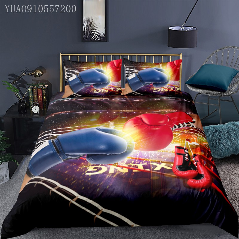 Sports Comforter Cover Set Adults Boys 3D Printing Boxing Duvet Cover 2/3pcs Soft Bedding Double Twin Queen King Bed Linings