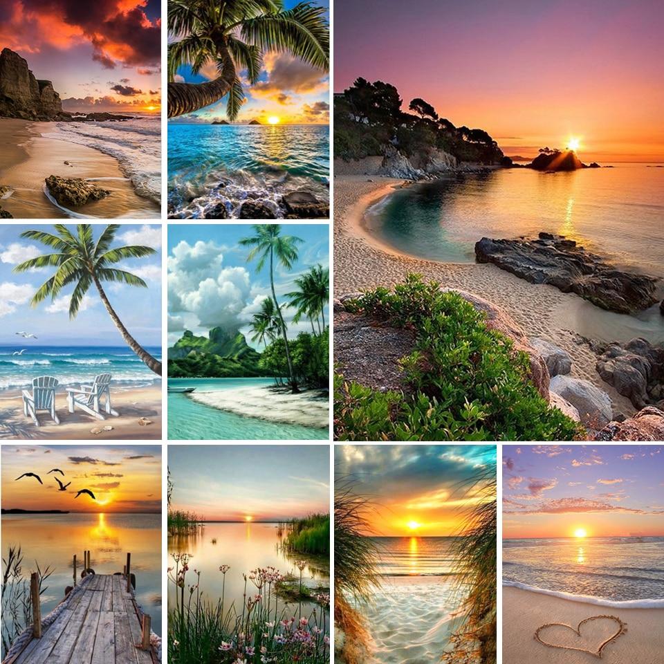 Алмазная 5D картина «сделай сам», пейзаж, закат, пляж, море, Набор для вышивки крестиком, мозаика, искусство, картина стразы, подарок
