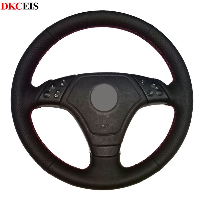 DIY Hand stitched Black Soft Artificial Leather Car Steering Wheel Cover for BMW E39 E36 E46|Steering Covers|   - title=