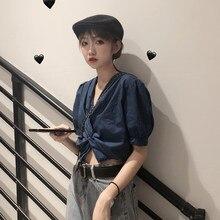 Blusas ajustadas Harajuku para mujer, Tops cortos lisos Ins, ropa De calle cómoda para Universidad, diseño encantador De verano