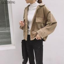Женские вельветовые короткие пальто и куртки в Корейском стиле, осенне-зимнее пальто с длинными рукавами и большими карманами, свободная че...