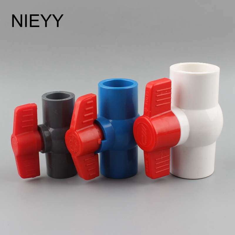 Color : Blue, Size : 20mm 20//25//32//40//50//63//75mm Inner Diameter White Blue Gray PVC Plastic Slip Ends Ball two-Way Water flow controller Valve Switch