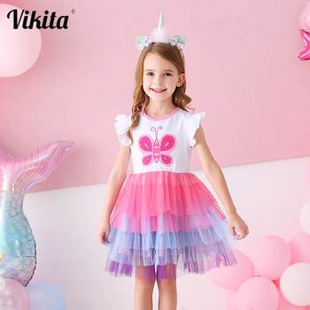 VIKITA Kids Summer Dress for Girls Tollders Princess Dress Girls Butterfly Tutu Dresses Children Birthday Party Layered Dresses children s white gown flower girls tutu dress birthday weddig party dress princess girls dresses robe fille costume for kids page 1