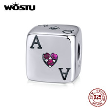 WOSTU Magic Dice & Poker Cards Charms 925 Sterling Silver Square Beads Fit Original Bracelet Pendant Lucky Jewelry Gift CQC1440(China)
