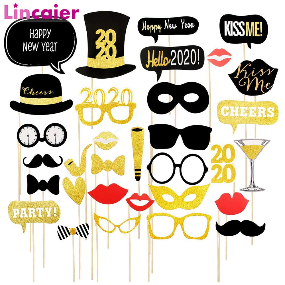 2020 Happy New Year Eve Photo Booth Props Decor Hats Glasses Party Decorations PhotoBooth Christmas Supplies