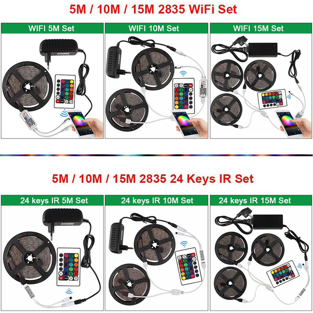 5m 10m 15m RGB LED Strip 2835 DC 12V Waterproof WiFi Flexible Diode Tape Ribbon Fita Tira LED Light Strips With Remote + Adapter