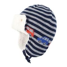 Зимняя шапка-бомбер, Вязаная Шапка-бини для мальчиков, Детская осенняя шапка-ушанка в полоску, теплые лыжные хлопковые флисовые уличные аксессуары для малышей