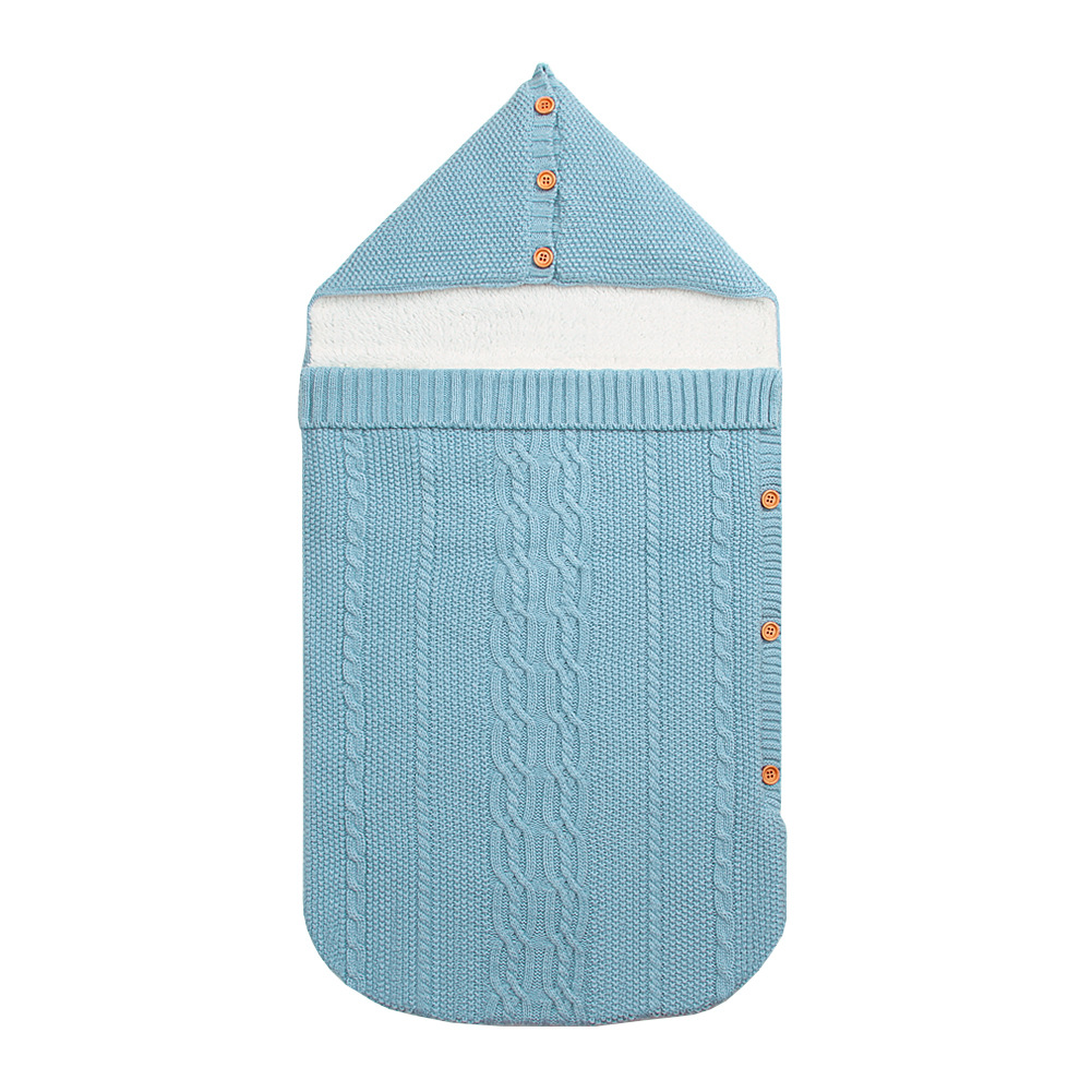 New Newborn Baby Winter Warm Sleeping Bags Infant Button Knit Swaddle Wrap Swaddling Stroller Wrap Toddler Blanket Sleeping Bags