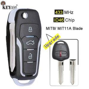 Keyecu 433mhz id46 atualizado flip 2 botão remoto chave fob para mitsubishi pajero, lancer & outlander esquerda/mit11r lâmina direita