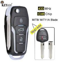 KEYECU – clé télécommande à 2 boutons, mise à niveau ID46, 433MHz, lame droite/gauche, pour Mitsubishi Pajero, Lancer & Outlander