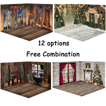 Christmas Fireplace Photography Background Christmas Tree Backdrop Decoration Winter Snow Window Backgrounds for Photo Studio mocsicka christmas winter snow night backdrops for photography christmas tree fence decor photographic studio photo backgrounds