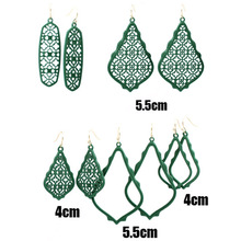 All Green Water Drop Painted Filigree Earrings Multi Color Lacquered Dangle Earrings For Women Matte Fram Earrings