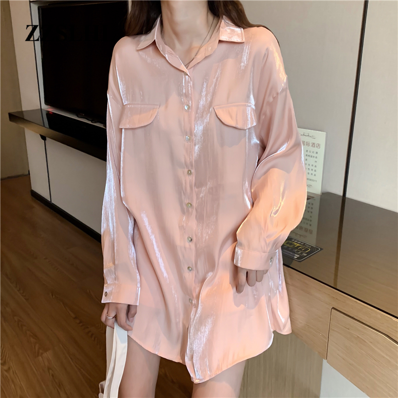 Spring Autumn Girls Vintage Reflecting Chiffon Blouses Shirt Women Long Sleeve Pink And White Shirts Tops For Female DX3896