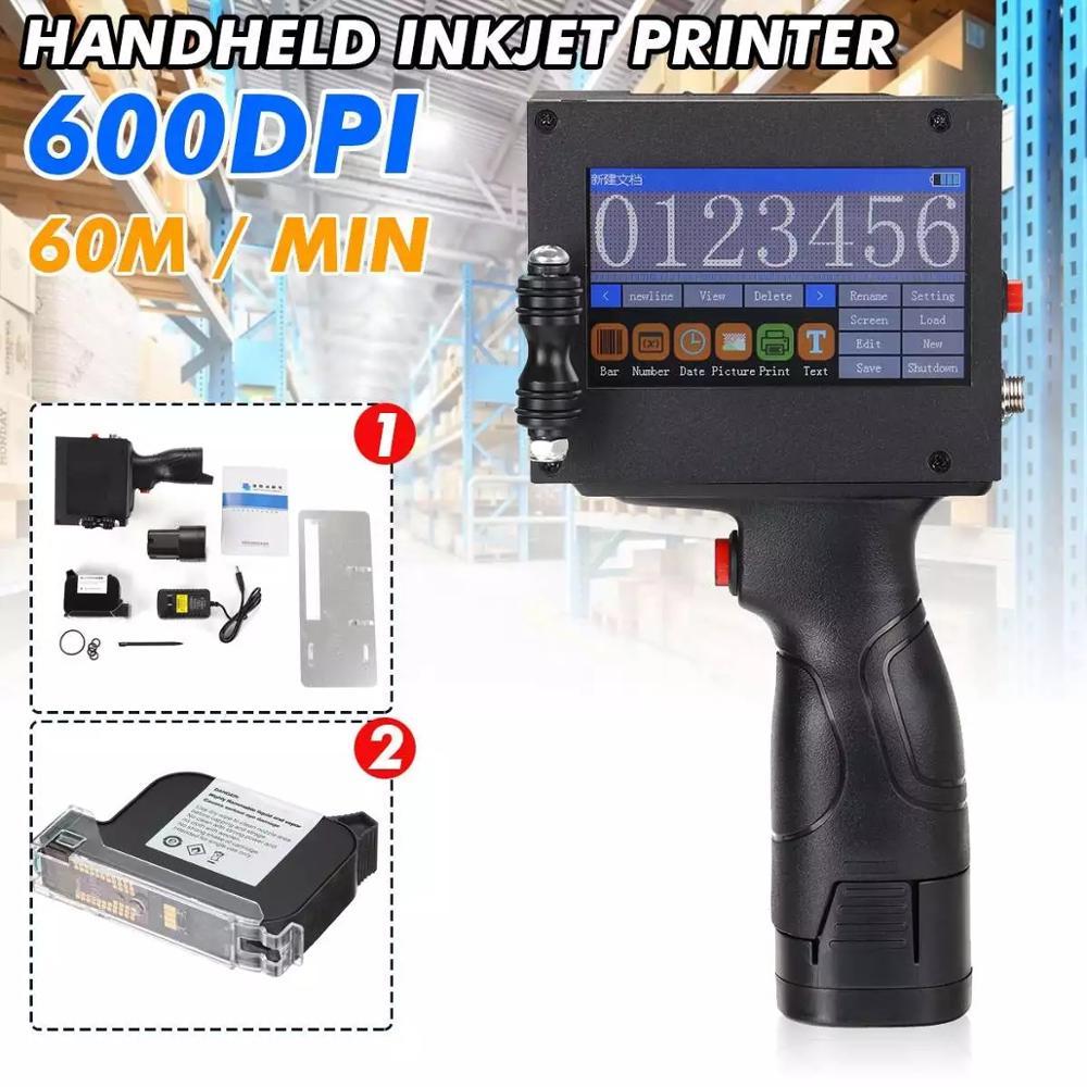 Impressora handheld portátil do jato de tinta do toque de 600dpi para o logotipo/data de expiração/código do lote/número de série/etiqueta/código de barras/código qr