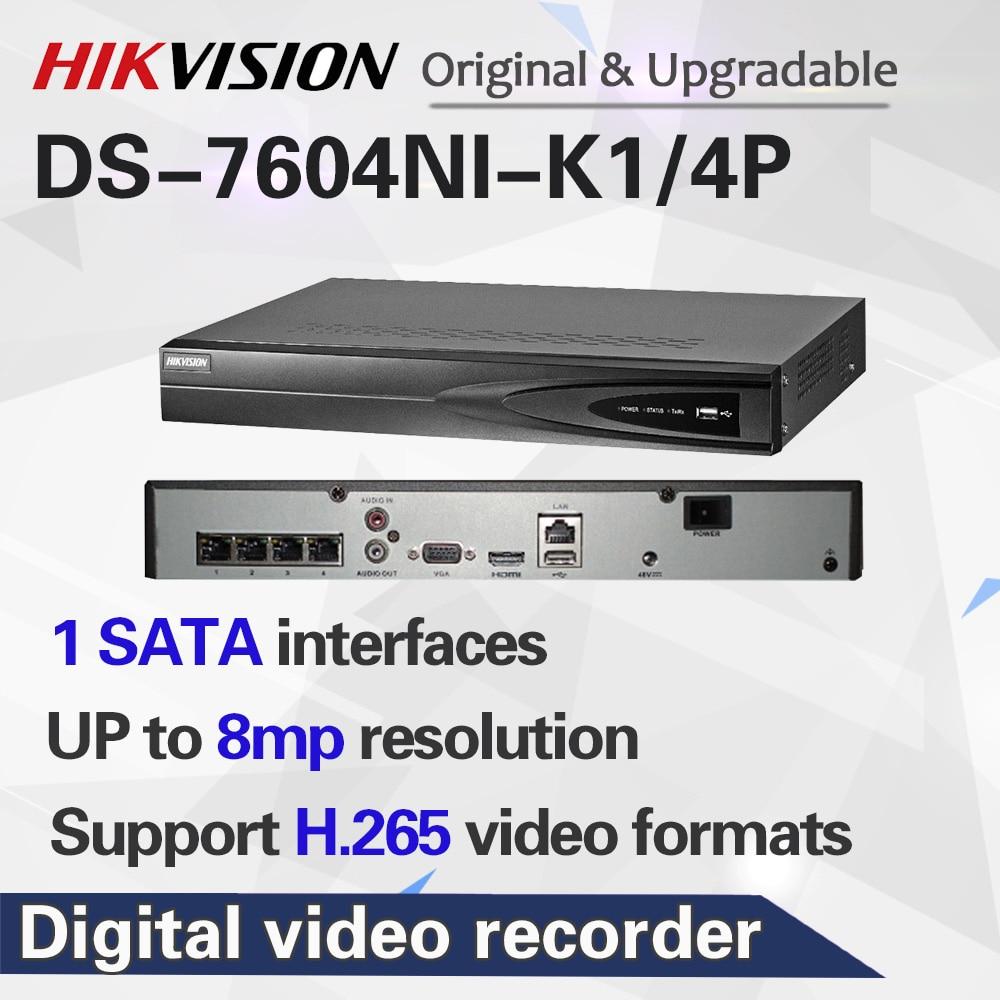 Hikvision 4CH PoE NVR DS-7604NI-K1/4 P 4-канальный встроенный разъем Play 4K NVR с 4 PoE портами для IP система наблюдения ссtv