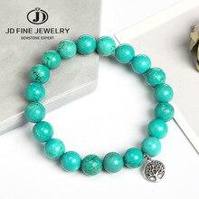 JD винтажная подвеска Бохо Синий Бирюзовый браслет для женщин натуральный камень Древо жизни кулон браслет из бисера мужские ювелирные изделия