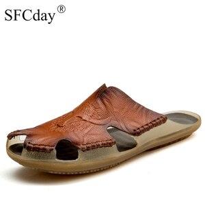 Novo 2019 qualidade de couro antiderrapante chinelos homens sandálias de praia confortáveis sapatos de verão chinelos clássicos homens flip flops