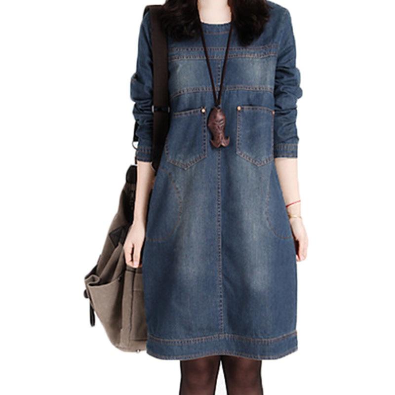 2020 Winter denim dress long sleeve korean loose dress large size women's retro jeans dress causal mini Vestido De Festa 14