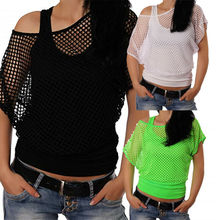 Goocheer 2019 New Sexy Womens Ladies Fishnet Top Summer Party Casual  Plus Size S-XXL Hollow Tops Women T-Shirt