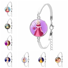 2019 New Cartoon Princess Photo Womens Bracelet Round DIY Glass Convex Ladies Classic Gift Style