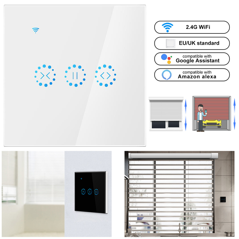 Smart Curtain Motor Home WiFi Electrical Touch Blinds Curtain Rail Switch APP Voice Control By Echo Track Smart Blinds Motor(EU)