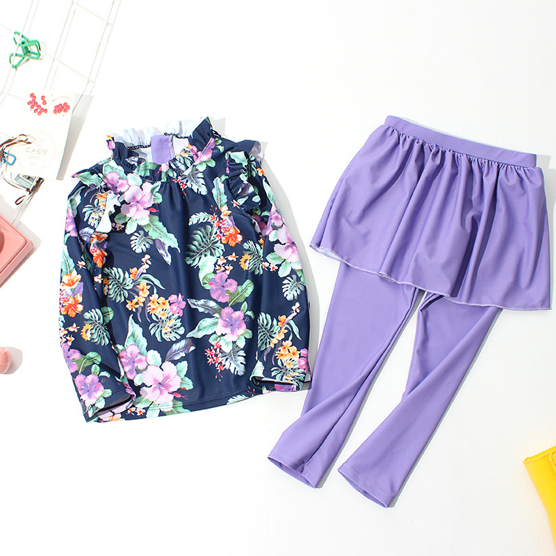 Imported From South Korea Girls Quick-Dry Bathing Suit Princess Long Sleeve Trousers Skirt Split Type Swimwear Sun-resistant CHI