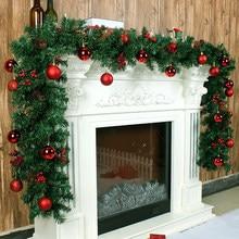 Enfeite de pendurar árvore de rattan, decoração natalina para casa, verde e para ano novo, guirlanda, festa, natal, 2.7m