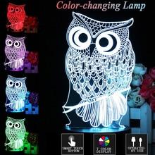Home Decor 3D Lamp Owl Touch control Kids Xmas Gift LED Table Night Light Cartoon Luminaria 7 Color Change lifesmart Night Light