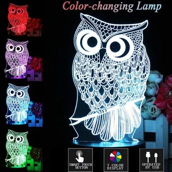 Home Decor 3D Lamp Owl Touch control Kids Xmas Gift LED Table Night Light Cartoon Luminaria 7 Color Change lifesmart Night Light table decor color change best gift led night light