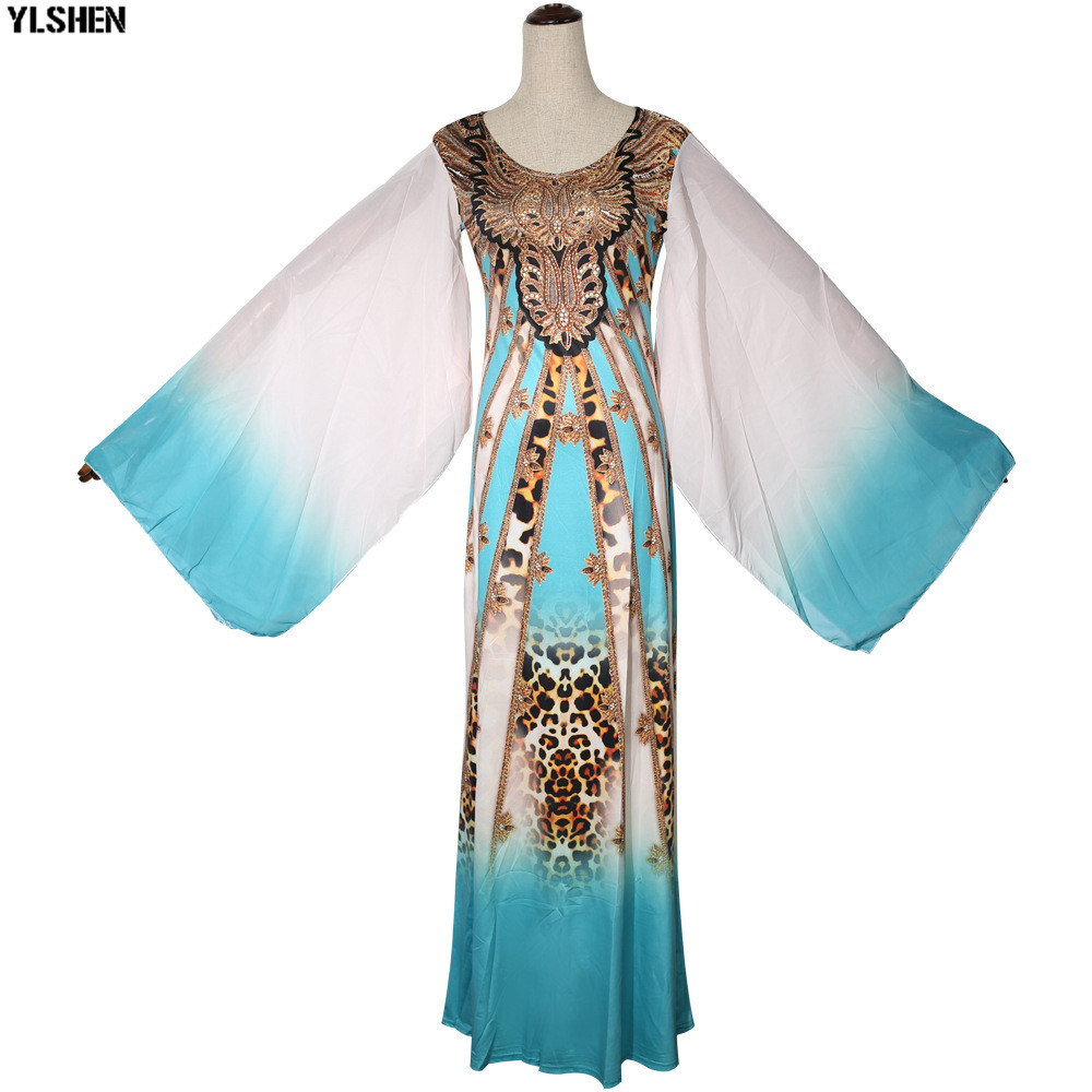 New African Dresses for Women Dashiki Print African Clothes Bazin Riche Sexy Slim Ruffle Sleeve Long Africa Maxi Dress Woman 35