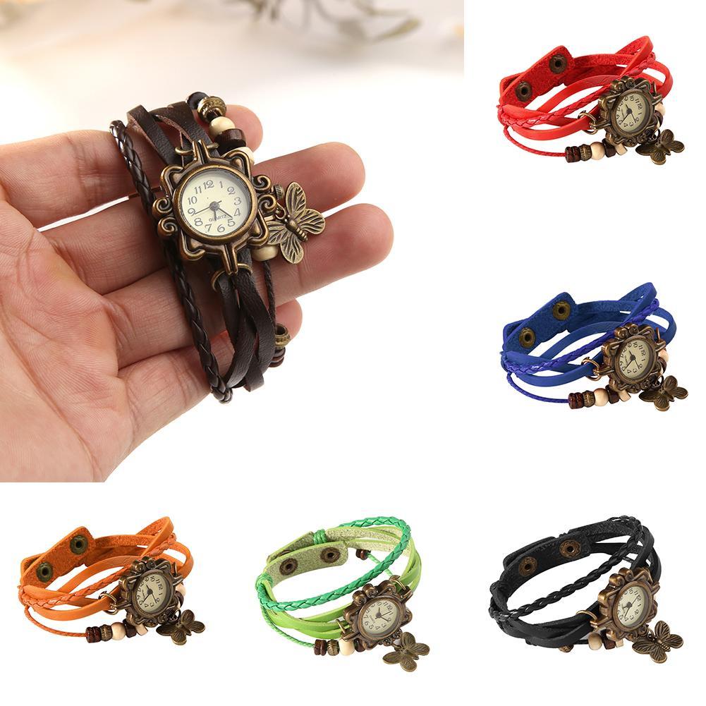 Fashion Womens Retro Faux Leather Bracelet Butterfly Decoration Quartz Wrist Watch New
