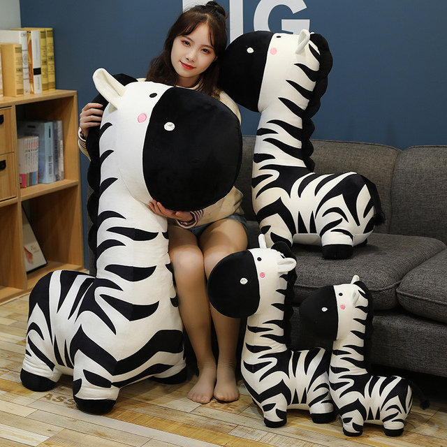 40/50/70cm Standing Cartoon Zebra Plush Toy Black On White Stuffed Animal Doll Boys Girls Birthday Present 1