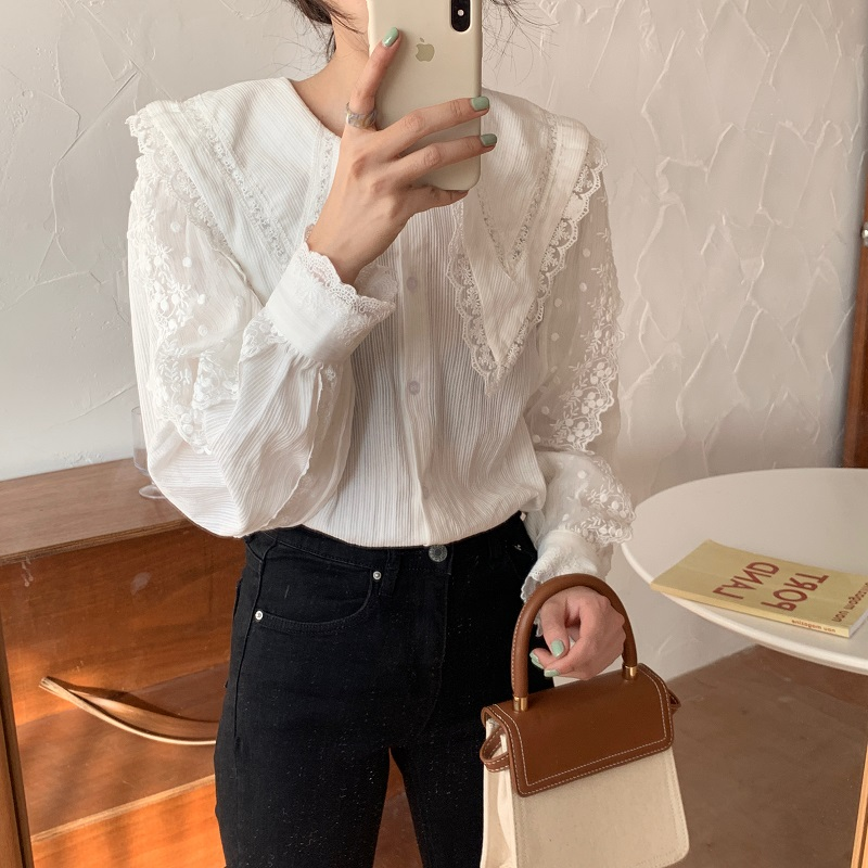 Hbe0f56ebafde48289a2a801282137d6a1 - Spring / Autumn Korean Butterfly Collar Lantern Sleeves Lace Blouse