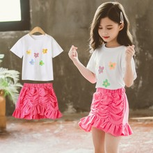Summer Baby Girls Suit Girl Clothing Set Kids Flower T-shirt with Skirt 2 Pcs Sets 4 6 8 10 12 Years Children Clothes Outfits children s garment girl summer wear children suit new pattern child nail bead skirt 2 pieces kids clothing sets