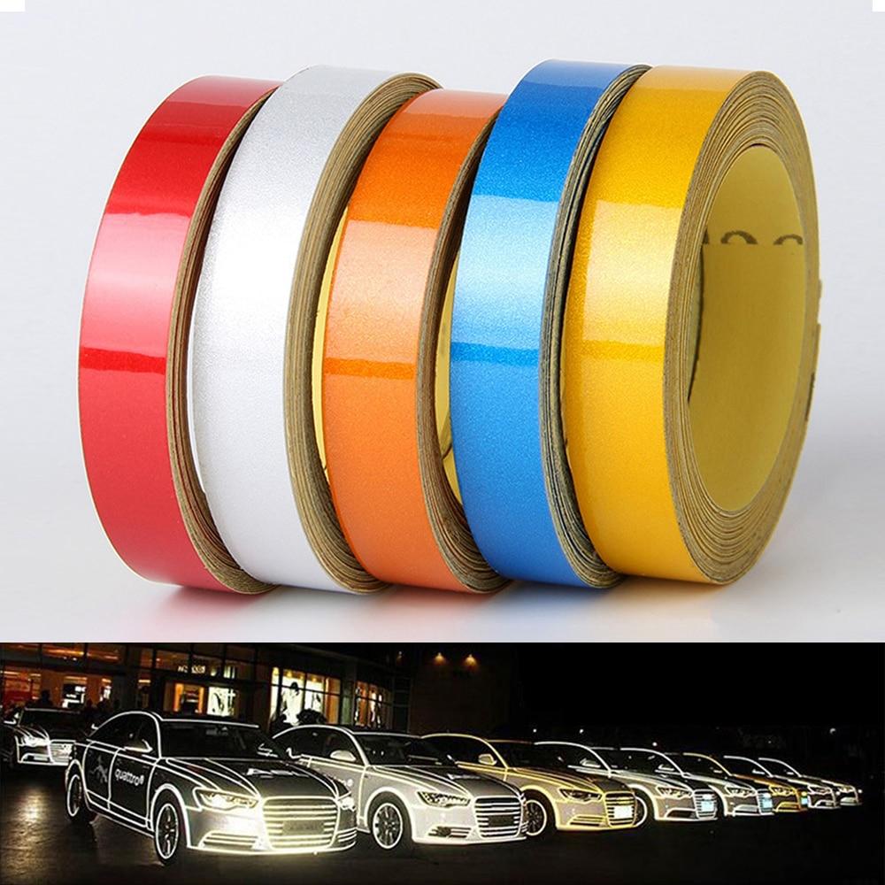 1cm*5m Car-styling Night Magic Reflective Tape Automotive Body Motorcycle Decoration Car Sticker 5 Color Reflective Warning Tape