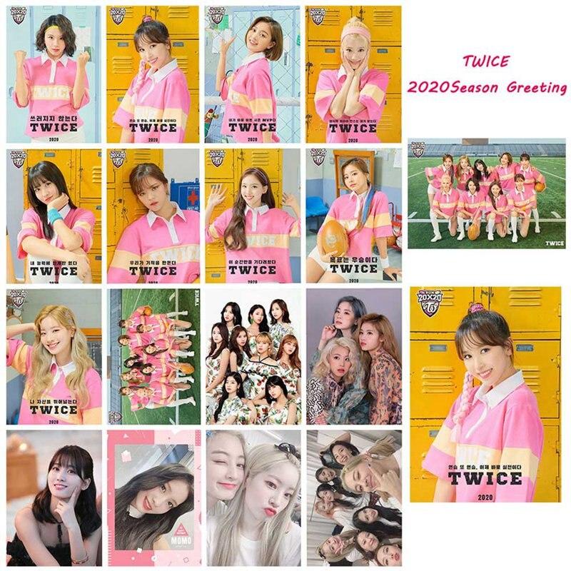 Kpop TWICE 2020 Season Greeting Cards Photo Cards LOMO 16Pcs/set Desk Calendar Small Cards