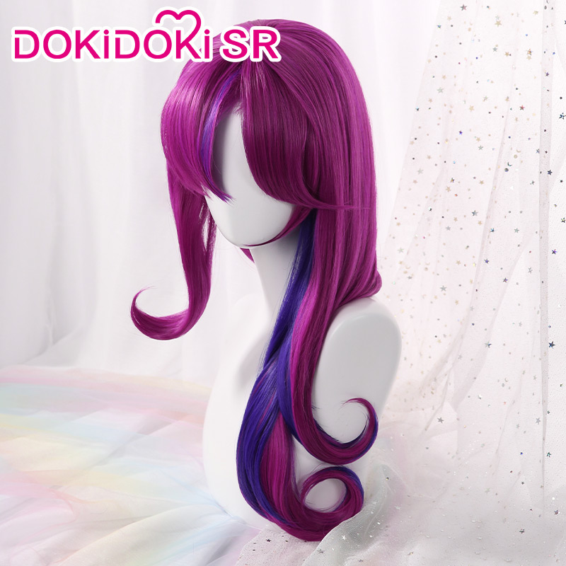 DokiDoki Game League Of Legends Cosplay Wig Xayah Star Guardian Women Purplr Curvy Hair League Of Legends  Xayah Cosplay Wig