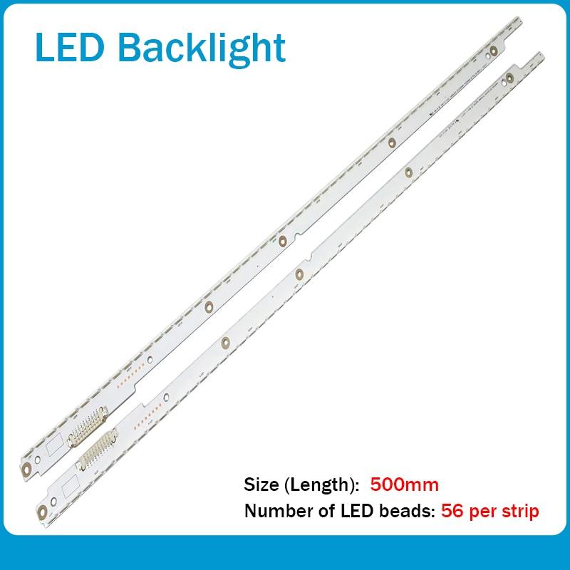 New 2 PCS 56LED 500mm LED Backlight Strip For Samsung UA40ES5500R 2012SVS40 7032NNB RIGHT56 LEFT56 3D BN96-21712A 21711A