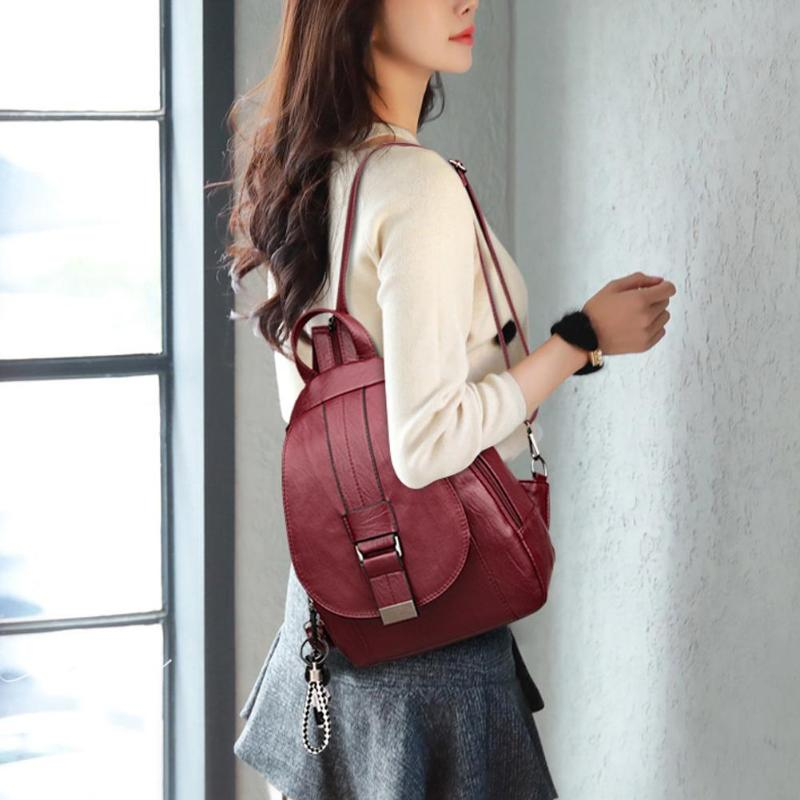 Simple Women Casual PU Leather Backpack Girl Pure Color Shoulder Bag Fashion School Bags For Teenaer Girls Zipper Small Backpack