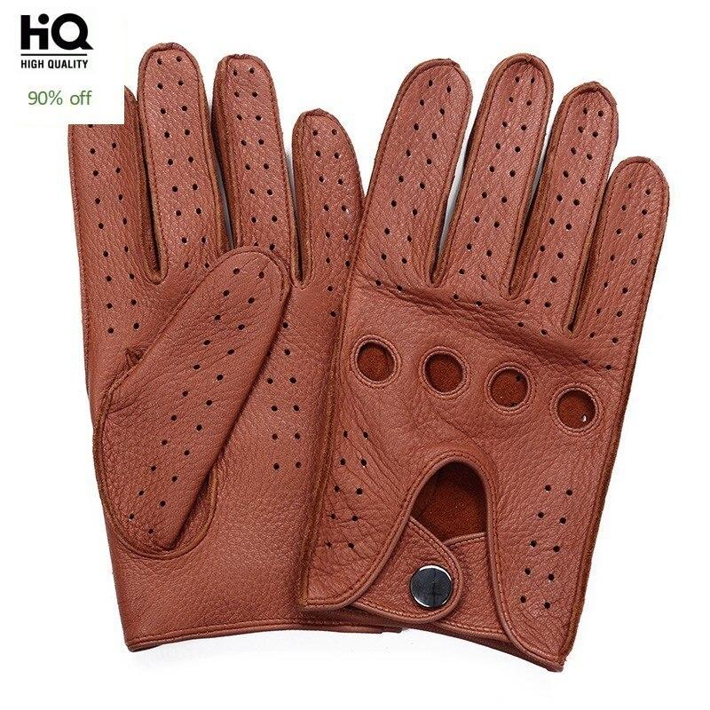 Brand High Quality Men's 2020 New Deerskin Gloves Four Seasons Fashion Vintage Driving Genuine Leather Moto Riding Gloves Men