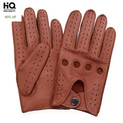Brand High Quality Men's 2020 New Deerskin Gloves Four Seasons Fashion Vintage Driving Genuine Leather Moto Riding Gloves Men